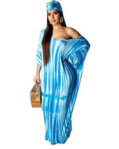 Ekaliy Women Sexy Stripes Maxi Dresses- Summer Short Sleeve Long Beach Dress with Belt Blue M