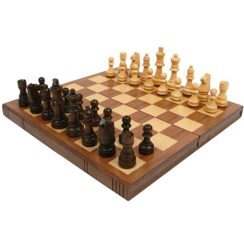 (Trademark Games Walnut Book-Style Chess Board with Staunton Chessmen, Brown)