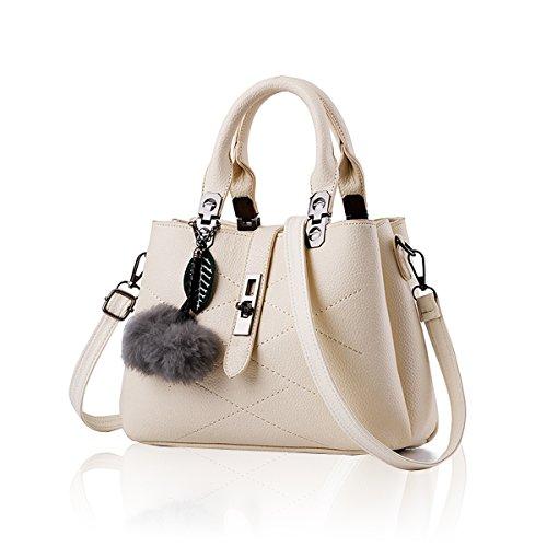 Tide Handbags with New Ball Hair Simple Women Beige Shoulder Handbag Wallet Diagonal Bag Tisdaini tX8Zwqt