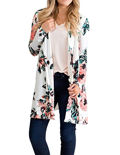 joyliveCY Women's Boho Kimono Cardigan Floral Printed Long Cover Up White Cardigan S (V-neck Printed Cardigan)