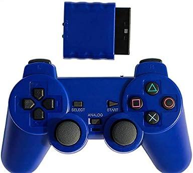 Ps2 Gamepad Inalámbrico 2.4g Controlador Inalámbrico De Doble Vibración Puede Convertir La Computadora Pc Color Universal Mango Transparente Azul