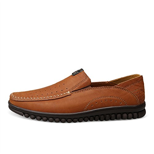 SK Studio Men's Leather Casual Slip-On Loafer Slipper Dark Brown-2 3IKhtOPg