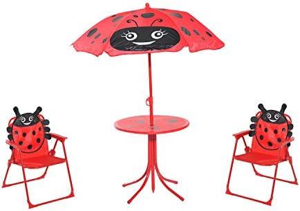 Homcom Kids Garden Picnic Table Chair With Uv Umbrella Foldable