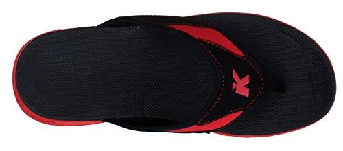 Kunsto Mens Nubuckläder Flip Flop Sandal Svart / Röd