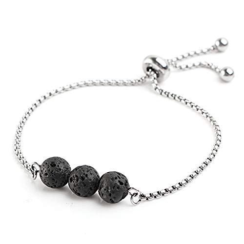 Maromalife Adjustable Lava Stone Diffuser Bracelet Yoga Bracelet Aromatherapy Diffuser Bracelet 316L Stainless Steel Chain,Stay Tight on Wrist,Not Easy Slide Down,Genuine Lava Stones