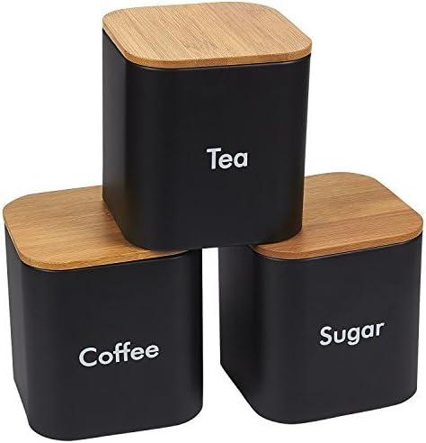 Küchendosen Set, für Kaffee, Zucker und Tee Vorratsdosen mit Bambusdeckel, Küchenorganizer, Schwarz, 3 teilig, 11,6 x 12,2 x 11,6 cm