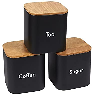 Kitchen Canister Set - 3-Piece Coffee, Sugar, and Tea Storage Container Jars with Bamboo Lids, Kitchen Organizers, Black, 4.6 x 4.8 x 4.6 Inches