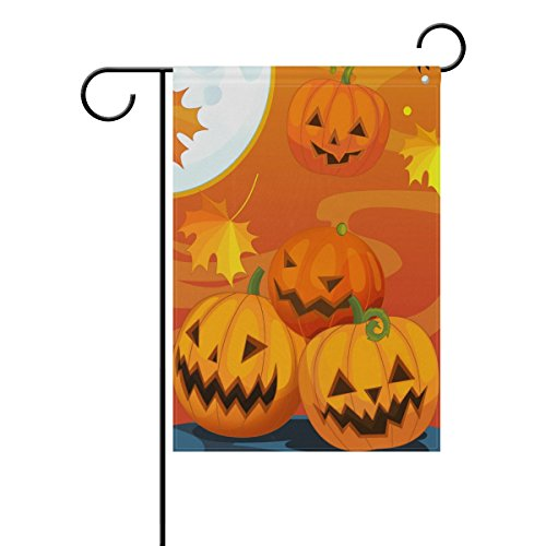 Naanle Halloween Pumpkin and Autumn Leave Double Sided Polye