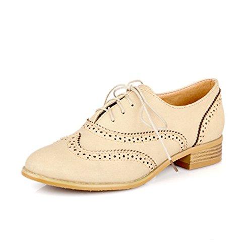Heel Low july Oxfords Beige Comfortable Vintage Round Retro Shoes Women's Toe Wingtip T Zz1AFvqv