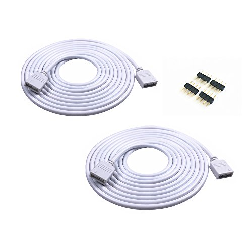 (2PCS 5M 16.4ft 4 Color RGB Extension Cable LED Strip Connector Extension Cable Cord Wire 4 Pin LED Connector for SMD 5050 3528 2835 RGB LED Light Strip (2PCS))
