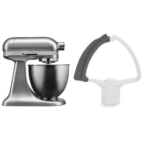 KitchenAid KSM3311XCU Artisan Mini with Flex Edge Beater, Contour Silver, 3.5 Quart
