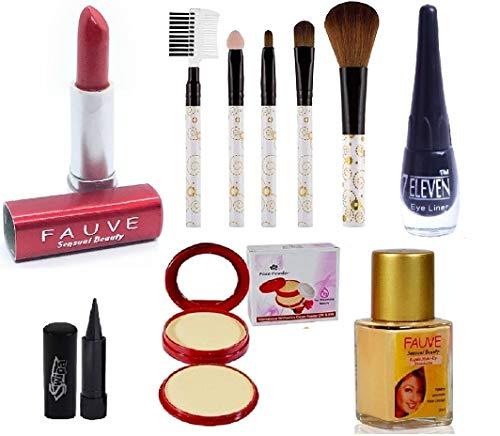 SWIPA Makeup Combo Set(Kajal,2in1 Compact Powder,Red Lipstick,Foundation(30),Liquid Eyeliner,5Pcs Brush)
