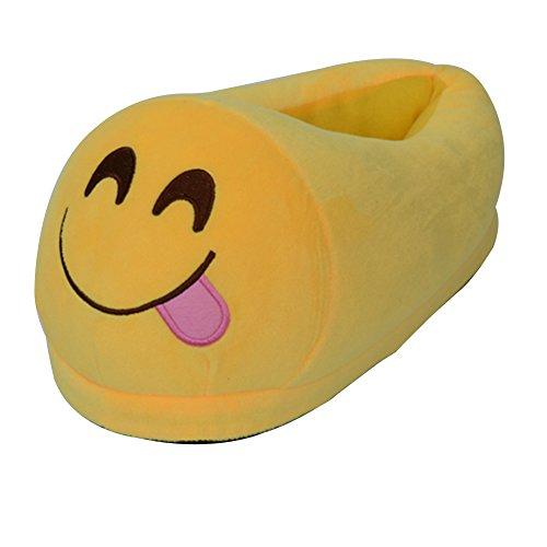 coperta Emoji caldo sveglia farcito della Delizioso pantofole fumetto inverno peluche del Scarpe della accogliente molle L'uomo famiglia caldo casa unisex Merda Kid molle famiglia della donne baboosh IwZtzT