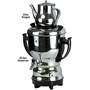 Home N Kitchenware Collection 3.0 Liter Electric Samovar w/teapot Stainless Steel, Silver Persian Teakettle Teapot, Samovar 3.0L Black Silver