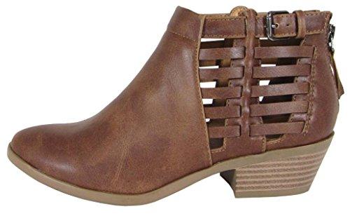 Soda Women's Cutout Side Buckle Detail Zip Back Block Heel Ankle Bootie (10 B(M) US, Cognac (Womens Side Buckle)