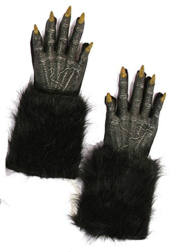 Fun World Unisex Werewolf Hands Adult Gloves, black, Standard