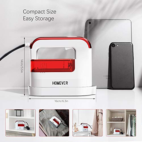 HOMEVER Steamer for Clothes, 1300W Clothing Steamer,Powerful Handheld Garment Iron Steamers, Horizontal and Vertical Ironing 4 in 1, 40s Fast Heat-up,Portable Mini Steamer for Home and Travel, Red