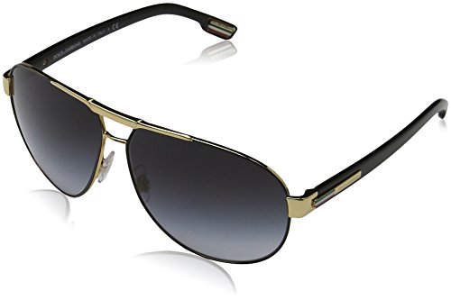 Dolce & Gabbana Men's DG2099 Sunglasses Gold/Black / Gray Gradient - Sunglasses Gabbana Designer Dolce