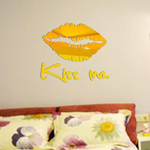 3D Wall Sticker Fheaven 30 Cmx 25 Cm Acrylic Removable Kiss Me Mirror Wall Sticker Decal Art Mural Home Room Decor  Gold
