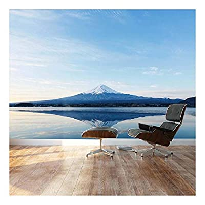 Mt. Fuji and Reflection on a Perfectly Smooth Lake - Landscape - Wall Mural, Removable Sticker, Home Decor - 66x96 inches