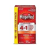 Omega-3 Fish & Krill Oil Supplement 500mg  - MegaRed Advanced 4in1, 80 softgels