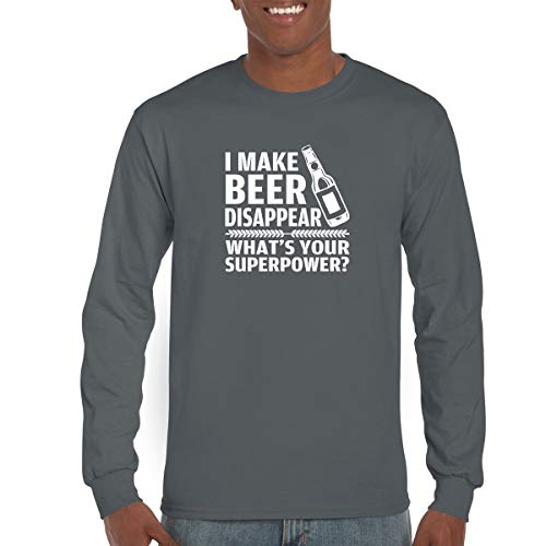 CBTWear I Make Beer Disappear, Whats Your Superpower? Beer Lover - Drinking Tee - Funny Long Sleeve T-Shirt (Large, Charcoal)
