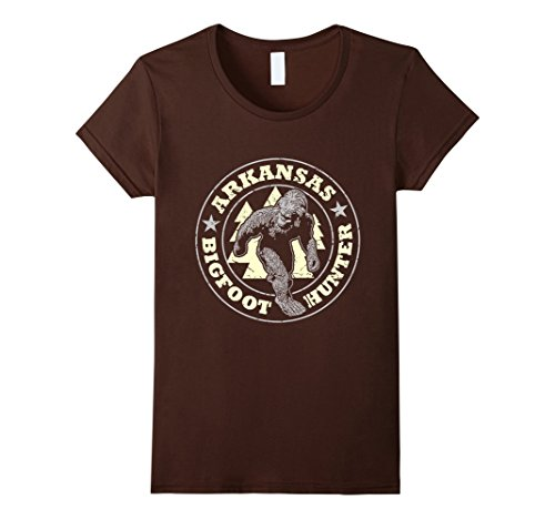 Womens Arkansas Bigfoot Hunter Believe T Shirt Large Brown