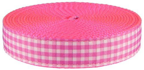 Country Brook Design 3/4 Inch Pink and White Gingham Ribbon on Hot Pink Nylon Webbing, 5 Yards by Country Brook Design