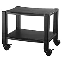 Kantek PS510 2-Shelf Mobile Printer Stand, Holds up to 75-Pounds, 17 x 13.25 x 14.13-Inches (Black)