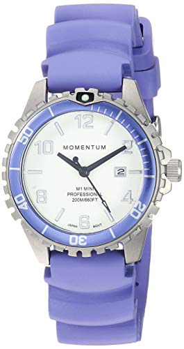 Women's Quartz Watch | M1 Mini by Momentum | Stainless Steel Watches for Women | Dive Watch with Japanese Movement & Analog Display | Water Resistant Ladies Watch with Date - White/Purple Rubber