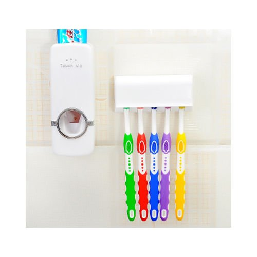 Toothpaste Dispenser + 5 Toothbrush Holder Set Wall Mount Stand US - Mall In Best Pittsburgh