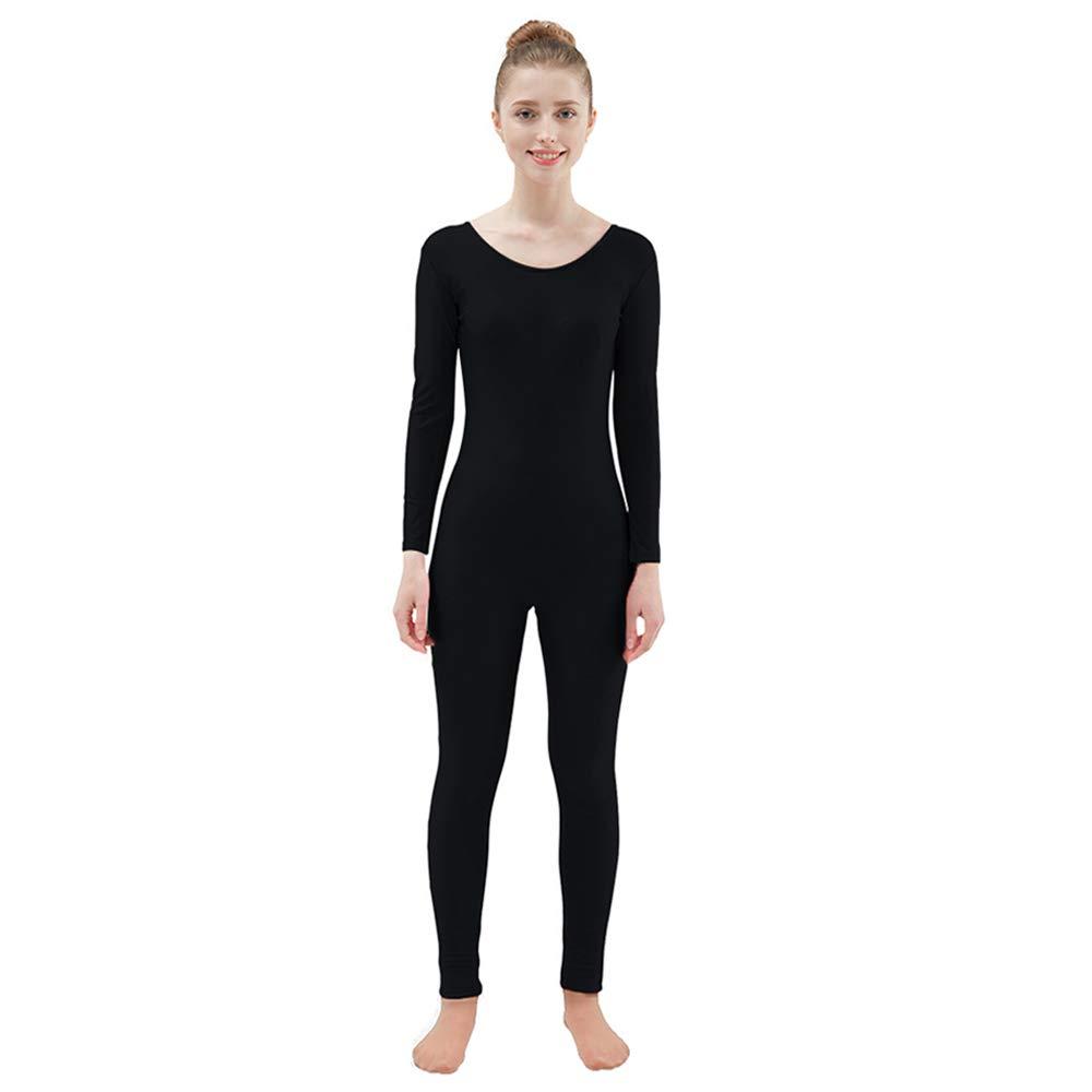 Ensnovo Womens Spandex Bodysuit Long Sleeve Scoop Neckline Footless Unitard Black,M by Ensnovo