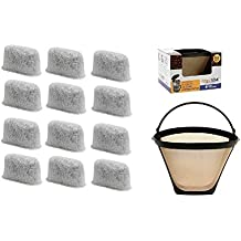GoldTone Brand 8-12 Cup Coffee Filter & Set of 12 Charcoal Water Filters fits Cuisinart Coffee Maker and Brewers. Replaces your Cuisinart #4 Cone Reusable Coffee Filter & Cuisinart Water Filter