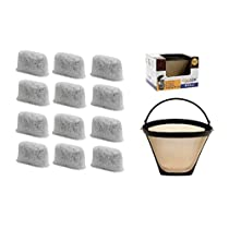 GOLDTONE 8-12 Cup #4 Cone Coffee Filter Replacement for CUISINART & (12 Pack) Charcoal Water Replacement Filters For CUISINART Coffee Makers and Brewers, BPA Free