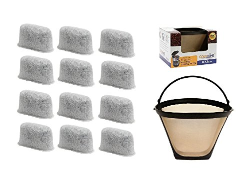 GoldTone Brand 8-12 Cup Coffee Filter & Set of 12 Charcoal Water Filters fits Cuisinart Coffee Maker and Brewers. Replaces your Cuisinart #4 Cone Reusable Coffee Filter & Cuisinart Water Filter by GoldTone