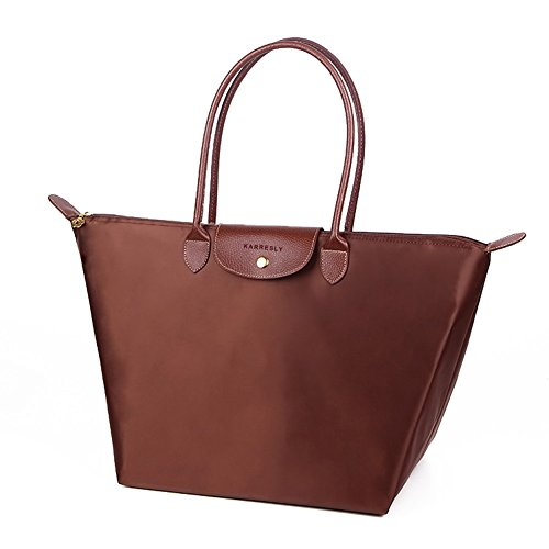 [KARRESLY Women Fashion Nylon WaterProof Zipper Bag Dumpling Folding Tote Shoulder Travel Shopping Sport Handbag(coffee L)] (Medium Bag Dark Coffee)
