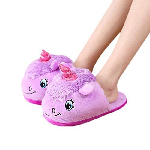DarkCom Unisex Lindo Unicornio Zapatillas Slip On Suave Adulto De La Felpa De La Casa De Zapatos 1 Par Morado