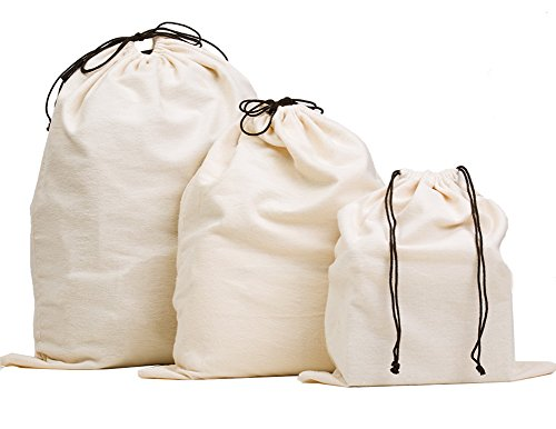 Misslo Set of 3 Cotton Breathable Dust-proof Drawstring Storage Pouch Bag ()