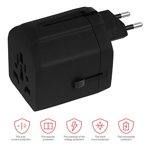 Travel Adapter,UROPHYLLA Universal European Adapter Dual Fuses 2.5A USB Wall Charger Power Adapter cover 150+countries EU US China UK Japan Germany Spain Iceland Italy Russia European Plug Adapter by UROPHYLLA (Image #4)
