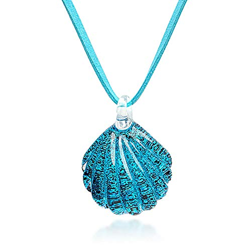 Chuvora Hand Blown Venetian Murano Glass Ocean Blue Sea Shell Shaped Pendant Necklace, 18-20 inches