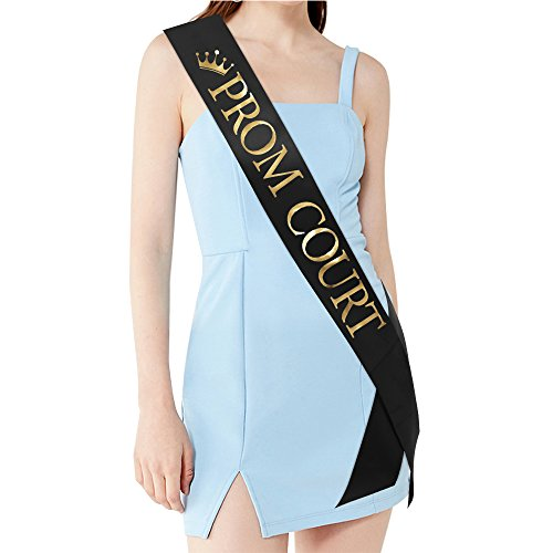 PROM COURT Sash - School Dance Graduation Party School Party Accessories, Black with Gold Print - Prom Court Sashes
