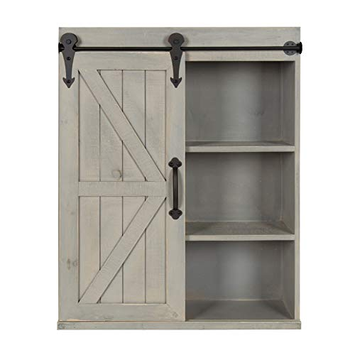 (Kate and Laurel Cates Wood Wall Storage Cabinet with Sliding Barn Door, Rustic Gray)