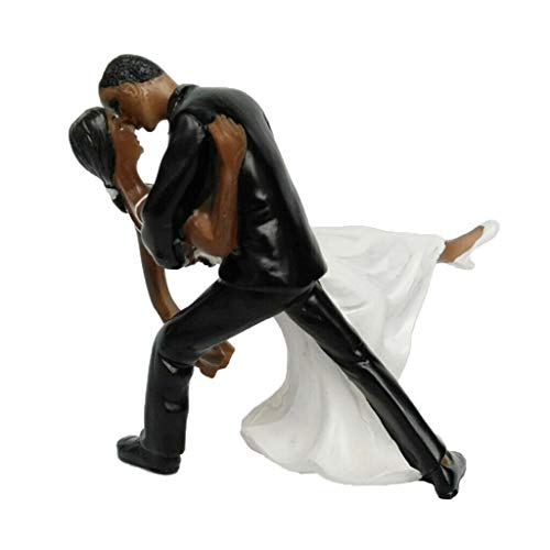 Wedding Cake Doll Romantic Bride Groom Cake Topper Black Couple Hug Decor