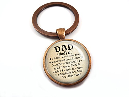 Dad Dictionary Definition Antique Copper Glass Dome Key Chain Charm Gift for Father's (Definition Keychain)