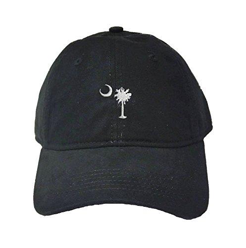 South Carolina Baseball Hats - Adjustable Black Adult South Carolina Flag Embroidered Deluxe Dad Hat