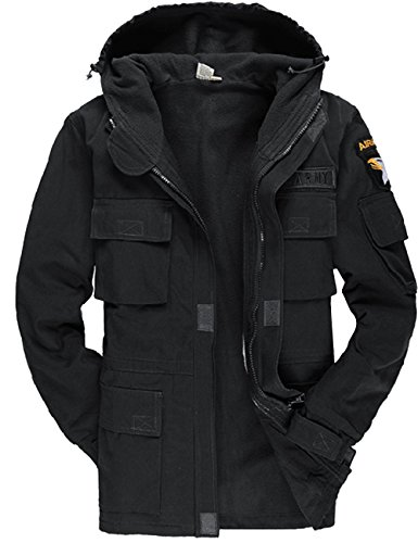 Menschwear Men's Windbreaker Thicken Jacket Hooded Military Tactical Outerwear Fleece Lined (Wearables Cargo Jacket)