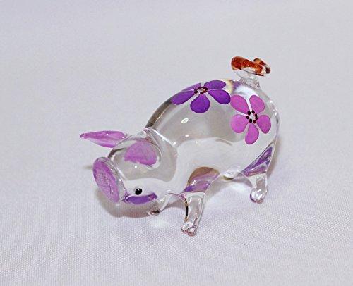 Dollhouse Miniatures Hand Blown Art Purple Cute Pig Flower FIGURINE Animals Decor