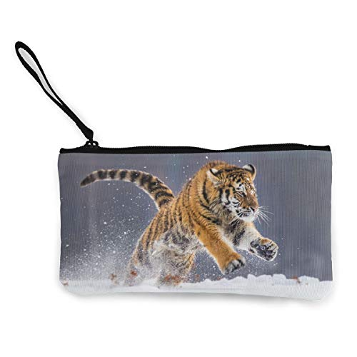 (Coin Purse Wallet for Women,Tiger Running in Snow Pen Holder Stationery Organizer Change Purse Coin Pouch Mini Clutch Bag for Home and Office)