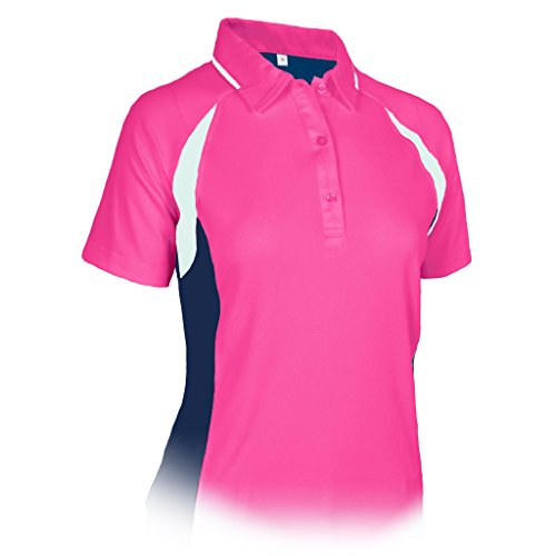 Monterey Club Ladies Dry Swing Double Side Colorblock Piping Collar Shirt #2289 (Pink Lightning/Navy, Large)