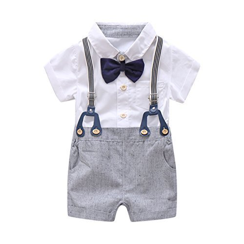 Baby Boys Gentleman Outfits Suits, Infant Short Sleeve Shirt+Bib Pants+Bow Tie Overalls Clothes (Boy Wedding)